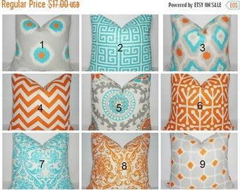 SPRING FORWARD SALE Turquoise Blue Grey Orange Suzani Pillow Cover Coordinating Decorative Throw Pillows 16x16