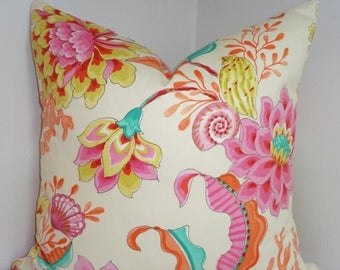SPRING FORWARD SALE Divers Paradise Pink Blue Orange Shell Pillow Cover Decorative Pillow Nautical Beach Throw Pillow 18x18