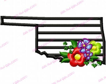 Oklahoma-Flowers - Applique - Machine Embroidery Design - 5 Sizes