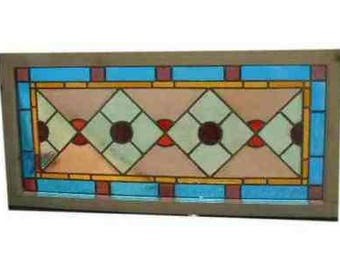 """Antique 1800's Victorian Stained Glass Church Window Section Restored; Etched Glass; New Poplar Frame 22"""" x 47""""; Excellent Condition"""