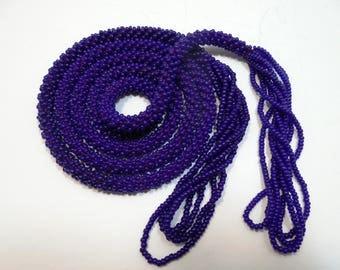 Vintage Lariat Necklace, Vtg Beaded Crochet Lariat Tassel Necklace, Vintage Costume Jewelry, Long Beaded Necklace, Beaded Rope Tassel, BLUE