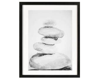 Zen beach rocks art, balancing rocks life style, meditation yoga art, seascape home decor nautical, stacked rocks simple minimalist decor