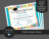 Pastel Rainbow Graduation Certificate Diploma 2018 - Kindergarten, Preschool, Pre-K Pre-Kindergarten and Montessori - YOU PRINT - Printable
