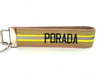 Like Bunker Gear Personalized Embroidered Key Fob / Made For You