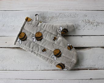 Kitchen gloves with Bees Linen Glove Christmas gift for the cook him and her