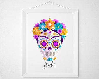 Frida Kahlo - print wall decor art - sugar skull day of the dead mexican home casa colorful modern quote sign script lettered art purple
