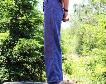 Wide Leg Jeans // Vintage Saddleback Denim Pants // Western Stitch Capris //