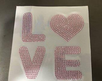 Rhinestone or rhinestud hotfix transfer love with heart
