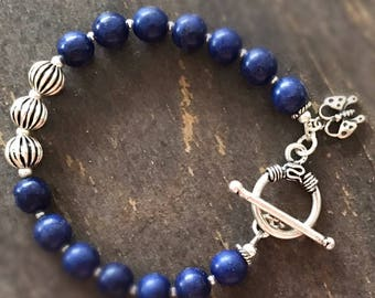 Navy Blue Bracelet - Sterling Silver Jewelry - Gemstone Jewellery - Layer - Stack - Butterfly Charm