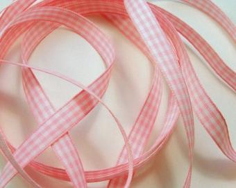 """3/8"""" Gingham Ribbon - Pink - 3 Yards"""