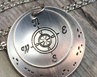 Morse code necklace, personalized