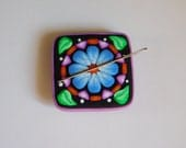 Magnetic Needle Minder, polymer clay magnet, needle keeper, sewing accessory