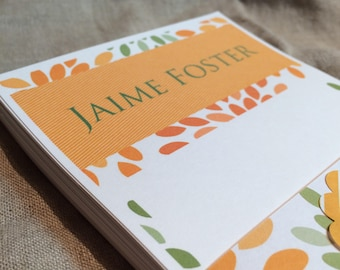 Personalized Harvest Orange and Green Patterned Note Pad