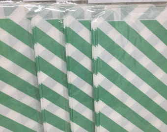Mint green stripe candy bag, wedding favor bag for candy buffet, popcorn bag in mint green polka dots, Mint green favor bag