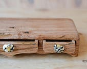 Low rider triple drawer arches box. wood box. bandsaw box.  wooden box. glass drawer pull. drawer box. monochrome glass. wood grain box.
