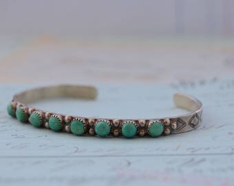 Vintage Navajo Turquoise Cuff Bracelet - Signed AP