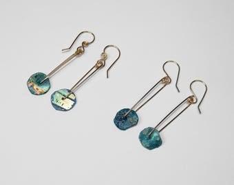 Roman Glass Earrings in Gold, Choice of 2