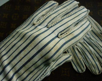 Adorable Vintage HERMES GLOVES Wear Right Cotton Fun Summer - STAINING - As found Accessory