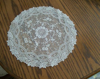"""Vintage Lace Doily Doilies 3 Available 2 Sizes Round 14"""" (2) OR Oval 14"""" (1) Shabby Chic Lovely for Dresser Tabletop or Table Center"""