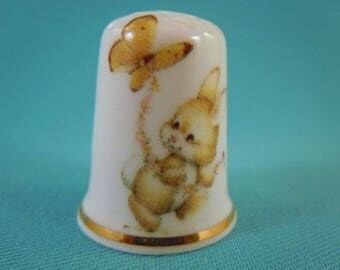 Thimble Bone China with Rabbit and Butterfly