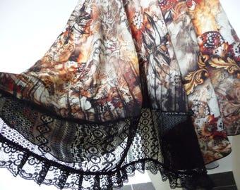 Ethnic  Desinger Print, Tango Jupe  US 6 to 8 Milonga Dance Wear Circle Skirt adorable Tango Robe