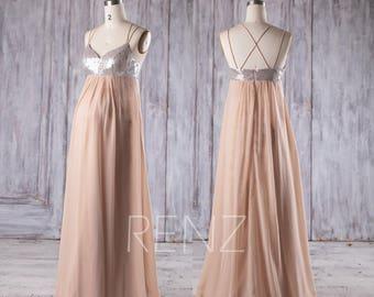 2017 Beige Chiffon Maternity Bridesmaid Dress, Silver Sequin Wedding Dress Empire Waist, Spaghetti Straps Prom Dress Floor Length(HM395)