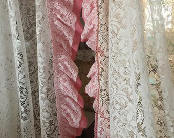 A set of white lace curtains with a pink lace ruffle, shabby, victorian, roses