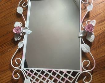 Vintage tole mirror,  scrolls, flowers, cottage, shabby chic, baby girl nursery wall mirror