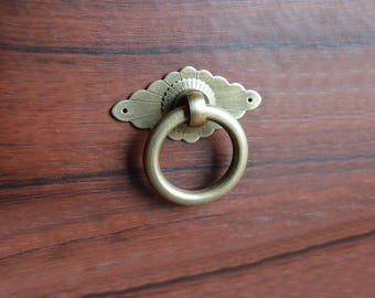 Vintage Drop Ring Pull Backplate Pulls Handles Drawer Pull Handle / Cabinet  Handle Pull Knob Furniture