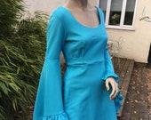 ORIGINAL 60s 70s turquoise angel sleeve mini dress S M uk 8 10