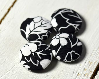 Fabric covered button magnets (4) –  Cotton Blossomy Gloom pattern - Strong magnets