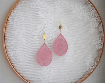 Pink earrings, filigree earrings, drop earrings, pink and gold tones, lightweight earrings, statement earrings