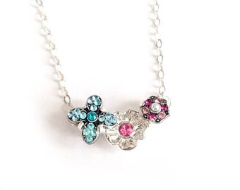 More Flowers - Swarovski Floral Crystal Pendant - Sterling Silver Cable Chain