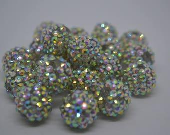 Qty 20 Iridescent Rhinestone Crystal Shamballa Pave Beads