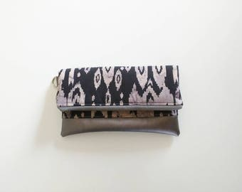 Ikat black and gray clutch with black interior