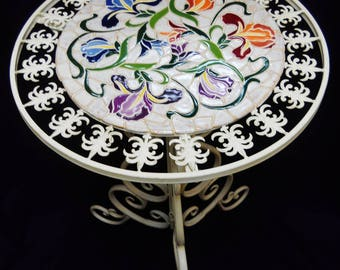 Mosaic Iron Bistro Table With Handmade Ceramic Tile Mosaic Top Art Deco  Iris Pattern