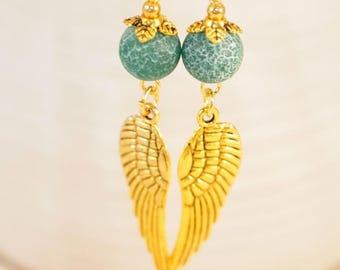 CIJ Fire Dragon Veins Agate Earrings Gemstone Earrings Angel Wing Earrings Green Agate Pierced or Clip-On Earring Gift for Her Bohemian Earr