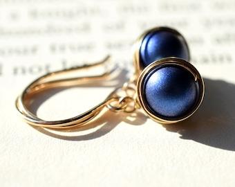 Dark Blue Pearl Earrings, 14k Gold Filled Wire Wrapped Earrings, Swarovski Earrings, Iridescent Blue Pearl, Gold Wire Wrapped Pearl Earring