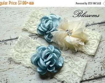SALE BLUE IVORY Bridal Garter Set - Keepsake & Toss Lace Wedding Garters - Chiffon Flower Pearl Garters - Something Blue - Bridal Garder
