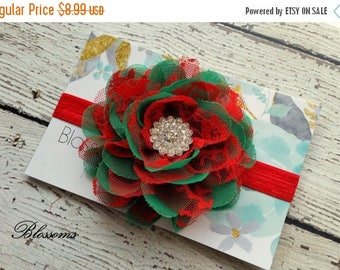SALE Red and Green Chiffon & Lace Flower Headband - Newborn Baby Girl Adult - Christmas Bow  - Photo Prop - Holiday Headband
