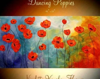 "SALE XL Oil Rich Red ""Dancing Poppies"" painting Abstract Original Modern 48"" palette knife impasto oil painting by Nicolette Vaughan Horner"