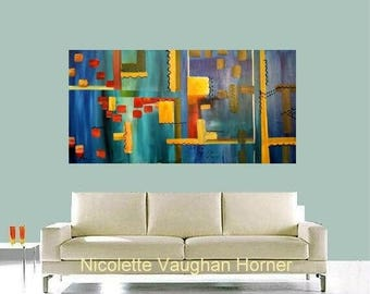 """SALE XLarge Contemporary Modern Multi Colored  Abstract Original 48"""" palette knife impasto oil painting by Nicolette Vaughan Horner"""