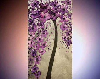 SALE Original Vertical  gallery canvas Abstract painting,Purples and Silver comtemporary Art,textured, Ready to hang  by Nicolette Vaughan H