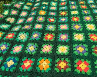 EASY BEING GREEN / Gorgeous Green Granny Throw / Colored Floral Squares / Hand Crochet / Boho / Hunter Green Background / 63 x 40