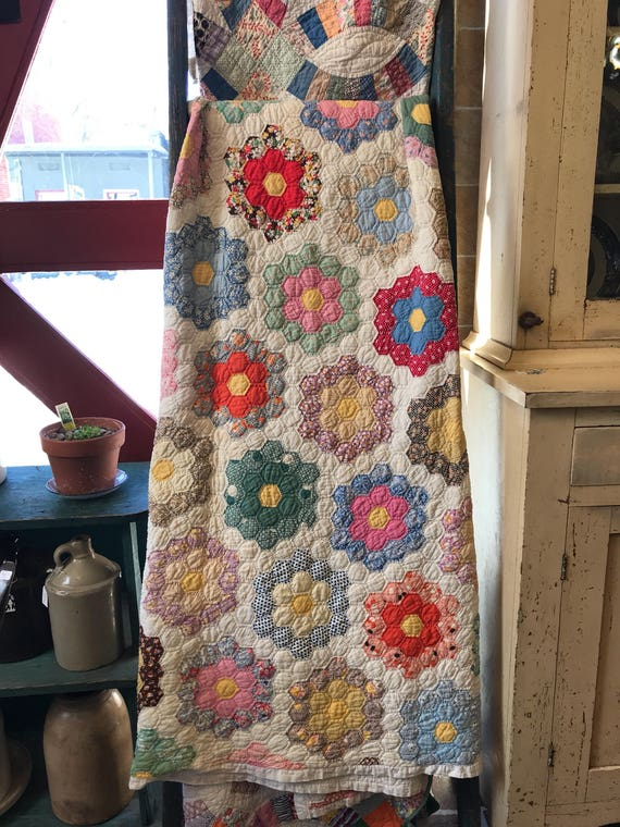 1930s -1940s Flower Garden Quilt from Indiana USA Vintage