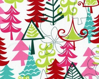 12% off thru July YULE TREES Michael Miller  Christmas multi color quilters cotton fabric by the HALF yard Cx3637-multi