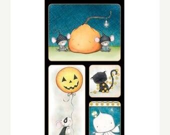 20 % off thru 8/20 CHARMED QT fabrics panel HALLOWEEN ghost, pumpkin, jack o lantern, black cat 23882 X