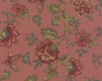 20% off thru 2/22 OLD CAMBRIDGE PIKE Moda fabric by the half yard 100 Percent quilt weight cotton Civil War floral on rose bloom pink 8320-1