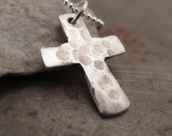Small Sterling Silver Christian Cross Pendant Necklace Handmade Jewelry for Children, Men or Women