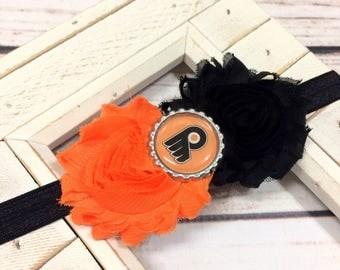 Philadelphia Flyers Shabby Chic Headband, Newborn Headband, Hockey Headband, Baby Girl Bow, Flower Headband, Bottle Cap Headband